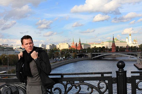 View from Patriarshiy bridge to Moscow Kremlin